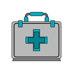 color image cartoon first aid kit with symbol cross vector illustration
