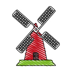 color crayon stripe cartoon farm windmill vector illustration