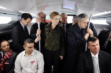 France's Ecology, Sustainable Development, Transport and Housing Minister Kosciusko-Morizet visits a suburban train station in La Defense near Paris
