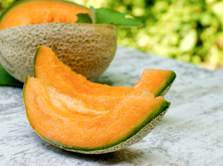 Organic cantaloupe- melon (watermelon) refreshing during the summer heat , juicy and delicious pleasure