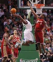 Celtics Allen goes up for a slam dunk past Cavaliers Jamison, James and Parker during Game 6 of their NBA Eastern Conference playoff basketball series in Boston