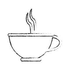 blurred silhouette image cartoon porcelain cup of coffee with steam vector illustration