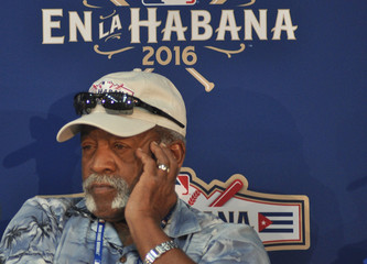 Cuban pitching great Luis Tiant attends a news conference at the Estadio Latinoamericano in Havana
