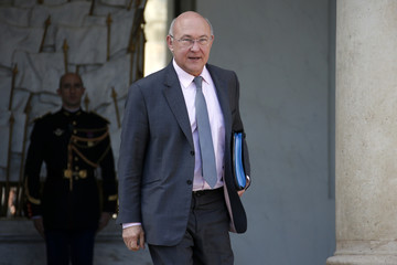France's Finance Minister Michel Sapin leaves after the second cabinet meeting of the new government at the Elysee Palace in Paris