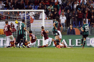 Sassuolo's Berardi scores against AS Roma during their Italian Serie A soccer match in Rome