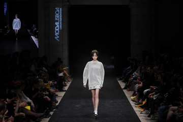 A model presents a creation from Lidija Kolovrat's Fall-Winter 2014/2015 collection during Lisbon Fashion Week