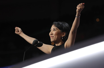Dr. Lisa Shin speaks during the final day of the Republican National Convention in Cleveland