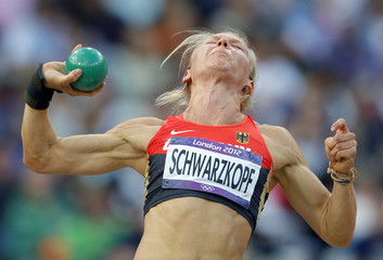 Germany's Lilli Schwarzkopf competes in women's heptathlon shot put event at London 2012 Olympic Games