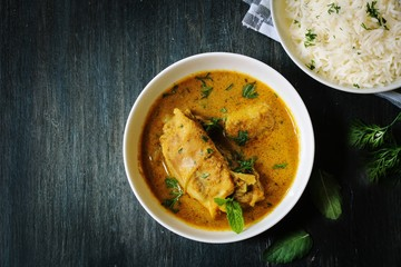 Chicken Curry served with Basmati Rice, top down view