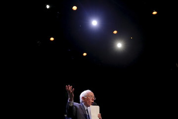 """U.S. Democratic presidential candidate and U.S. Senator Bernie Sanders speaks at a campaign """"Community Conversation"""" at the Apollo Theater in Harlem"""