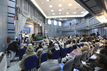 Tribal leaders attend a seminar for the Alliance of Yemeni Tribes about the importance of their participation in the upcoming February 21 presidential election, in Sanaa