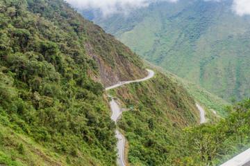Mountain road from Olllantaytambo to Quillabamba in Abra Malaga pass section, Peru