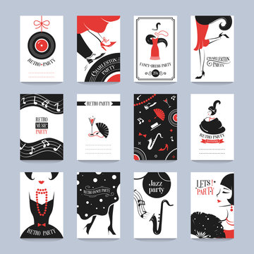 Retro Party invitation cards in the style of the 1920s. Vector illustration