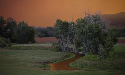 The sky turns a brilliant orange as smoke from the High Park Fire fills the sky near Laporte, Colorado