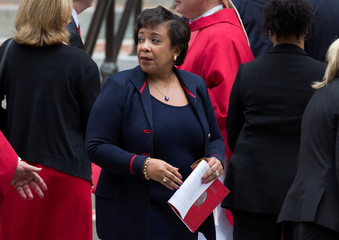 U.S. Attorney General Loretta Lynch leaves after attending the 64th Annual Red Mass at the Cathedral of St. Matthew the Apostle in Washington.