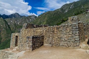 Preserved buildings at Machu Picchu ruins, Peru