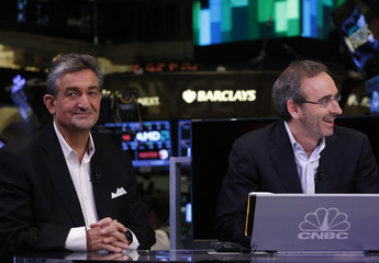Ted Leonsis and Eric Lefkofsky, Groupon co-CEOs, give an interview to CNBC on the floor of the New York Stock Exchange