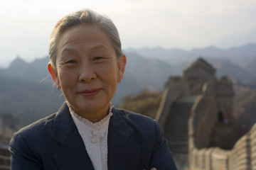 Portrait of Chinese businesswoman at the Great Wall Of China.