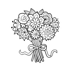 Flower Bouquet Decorated With Bow Black And White Outline Vector Illustration Isolated On