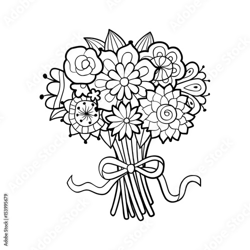 Flower Bouquet Line Drawing : Flower bouquet images outline thin