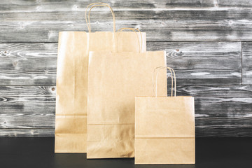 Brown shopping bags closeup