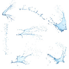 Set of different water splashes on white.