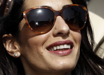 Human rights lawyer Amal Alamuddin Clooney arrives at the Acropolis museum in Athens