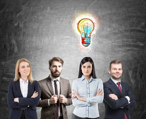 Business team with bright idea