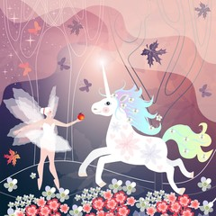 Beautiful fairy girl meets white unicorn on magic floral meadow.