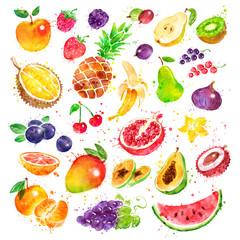 Poster Vruchten Hand drawn watercolor set of fruit