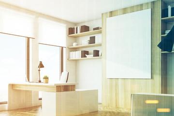 Light wooden office, side, toned