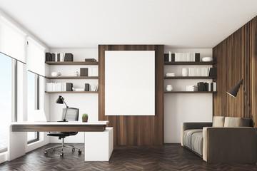Dark wooden office, front
