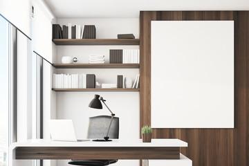 Dark wooden office, close up