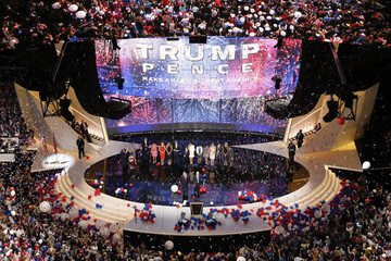 U.S. Republican Presidential Nominee Donald Trump joined by Vice-Presidential Nominee Indiana Governor Mike Pence after speaking at the Republican National Convention in Cleveland, Ohio,