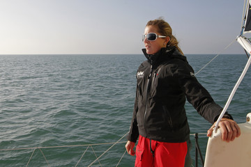 "British skipper Samantha Davies sails on her ""Saveol"" monohull during a training session for the Vendee Globe race off the coast of Les Sables-d'Olonne"