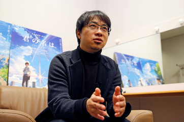 Japanese anime director Makoto Shinkai speaks about his animated film 'Your Name' during an interview with Reuters in Tokyo