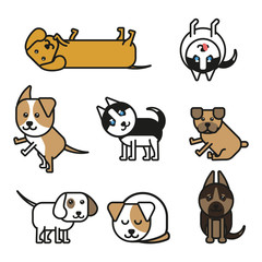 Set of isolated icons puppies of different breeds in the line art style vector illustration