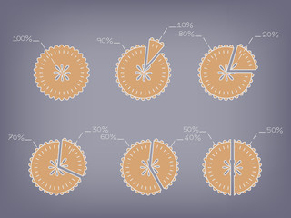 apple pie chart vector with percentage