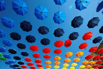 Colourful umbrellas decorate Dorner Platz in Vienna