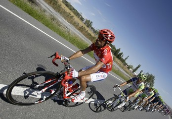 "Katusha Team's Rodriguez cycles during the ninth stage of the Tour of Spain ""La Vuelta"" cycling race between Villacastin and Sierra de Bejar La Covatilla"