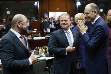 EU Parliament President Schulz, Malta's PM Muscat and Italy's PM Letta attend a European Union leaders summit in Brussels