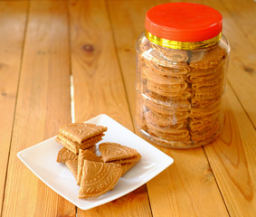 Kuih Kapit or the Love Letter biscuit over white background