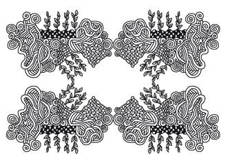 Zentangle Muster mit Linien und Blättern,