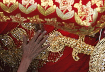 A hand of a Shi'ite Muslim woman reaches out to touch the gold-ornamentation of sword and shield, during the religious procession of Yaum-e-Ali in Karachi