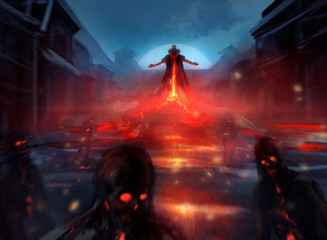 Illustration of a demon lord summoning evil zombie forces with fire effects and blurry mist. Wall mural