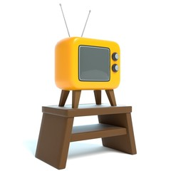 3d illustration of a cartoon TV