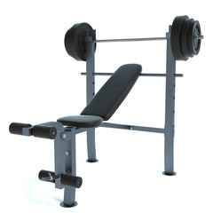 3d illustration of a bench press machine