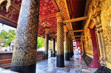 Buddhist  temple Wat Souvannapoumaran in Luang Prabang in Laos.  Wall mural