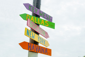 Colorful direction signs to major cities at Little Torch Key, Maimi