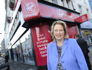 Virgin Money CEO Jayne-Anne Gadhia poses during a media conference as Virgin Money take over Northern Rock in Newcastle